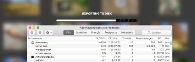 Ruft man die Aktivitätsanzeige auf, während Photolemur ein paar Bilder überarbeitet, sieht man schnell, dass die Software wirklich fleissig die CPU nutzt. Man kann zwar noch mit Arbeiten, aber Videoschneiden oder 3D-Renderings sollte man lieber vertagen. Beim Surfen oder Mailen war mein MacBook Pro aber nicht ausgebremst worden und reagierte noch normal.