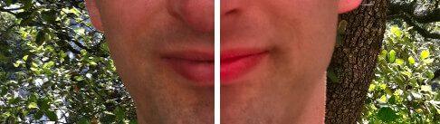 In Einzelfällen pimpt mir die Software die Farbe der Lippen ein bisschen zu sehr. Was bei Frauen vielleicht noch ok aussieht, wirkt bei Männern dann eher affig.