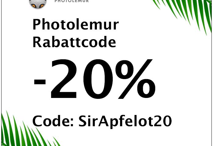 """Gut 20% kann man mit dem Rabattcode """"SirApfelot20"""" beim Kauf von Photolemur sparen. Der Code wird beim Bezahlvorgang eingegeben."""