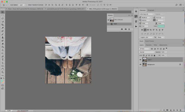 Photoshop Fenster mit allen Werkzeugen und Fensterchen – wie es gehört.