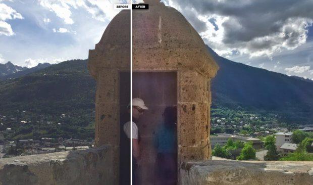 Hier habe ich Photolemur mal ein Problembild gegeben. Fotografiert mit dem iPhone 6 gegen einen zu hellen Himmel. Ich finde die Software hat trotzdem noch einiges rausgeholt. Die Struktur der Steine im Vordergrund und auch die Häuser im Mittelbereich sind deutlich besser als im Original.