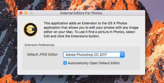 Beim ersten Programmstart kann man seinen Lieblings-Fotoeditor auswählen, der dann immer über die Erweiterungen in Apple Fotos erreichbar ist.