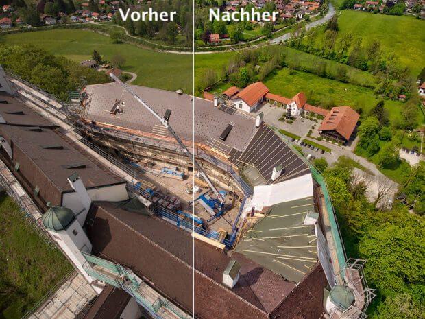 Noch eine Luftaufnahme, die mit der DJI Phantom 4 vom Schloss Hohenaschau gemacht wurde. Links ist das Original und rechts die automatisch verbesserte Version (Foto: Sir Apfelot)..