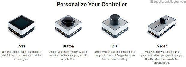 Die einzelnen Module von Palette Gear: Core, Knopf, Drehregler und Schieberegler. Quelle: Herstellerseite