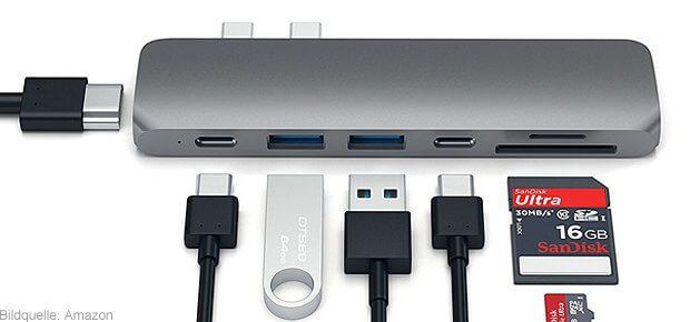 Satechi USB-C Hub fürs MacBook Pro 2016 von Apple. Thunderbolt 3 wird zu HDMI, USB-A, Kartenleser und mehr.