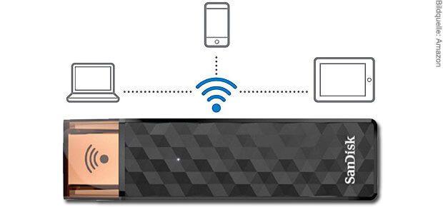 """Der WLAN USB-Stick """"SanDisk Connect Wireless Stick"""" sorgt für Datenaustausch per Funk sowie per USB-A-Anschluss. Ideal für iPhone, iPad, Mac und Co!"""