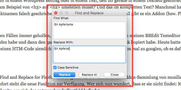 Der Screenshot des Firefox Addon Find and Replace zeigt,wie man die Suche durchführen kann.