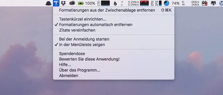 Das Menü von Get Plain Text ist in der Menüleiste des Mac zu finden. Darin sieht man schon, welche Optionen man hat.