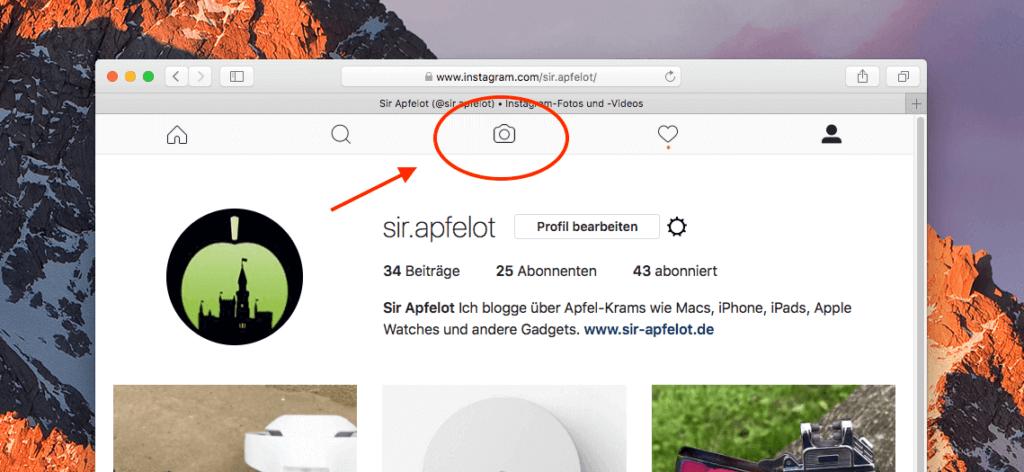 Hier der Beweis: Instagram gibt mir am Mac unter macOS Sierra den Foto-Button in dem Menü, den man sonst nicht sieht, wenn man mit einem Browser auf instagram.com in sein Profil geht.