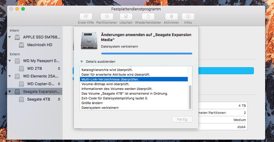 Möchte man am Mac eine größere Festplatte partitionieren, dann sollte man Geduld mitbringen (Screenshot aus dem Festplattendienstprogramm)… nach gut 1,5 Stunden Warterei.