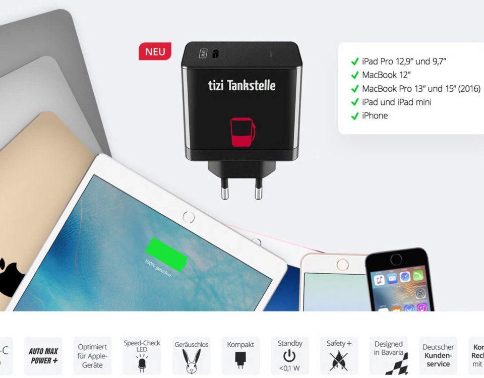 Neu und stark: die tizi Tankstelle kommt nun mit USB-C und 29 Watt Ausgangsleistung (Grafik: Equinux).