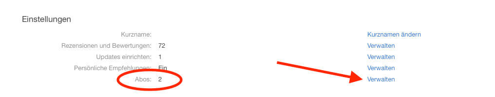 """Ist man in der Verwaltung der Apple-ID, sucht man den Bereich """"Einstellungen"""" und findet dort die """"Abos"""", die man rechts daneben über den Link """"Verwalten"""" einsehen kann."""