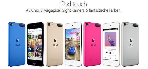 Der iPod Touch wird im Apple Store noch effektvoll beworben. iPod Shuffle und iPod Nano wurden aus dem Sortiment genommen. Die Zukunft gehört AirPods, HomePod und Co. (Bildquelle: apple.com)