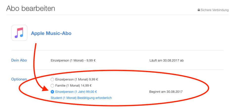 """Hat man das Apple Music Abo in der Detailansicht aufgerufen, stellt einem iTunes diverse Abrechnungsmöglichkeiten zur Verfügung. Unter anderem auch das """"Jahresabo"""", das wir nun anklicken und dann durch Eingabe des Apple-ID-Passworts bestätigen."""