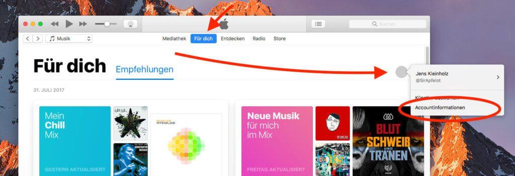"""Hat man iTunes am Mac geöffnet, klickt man auf """"Für Dich"""" und dann auf den grauen Kreis, hinter dem sich das eigene Profil verbirgt. Dort wählt man den Unterpunkt """"Accountinformationen""""."""