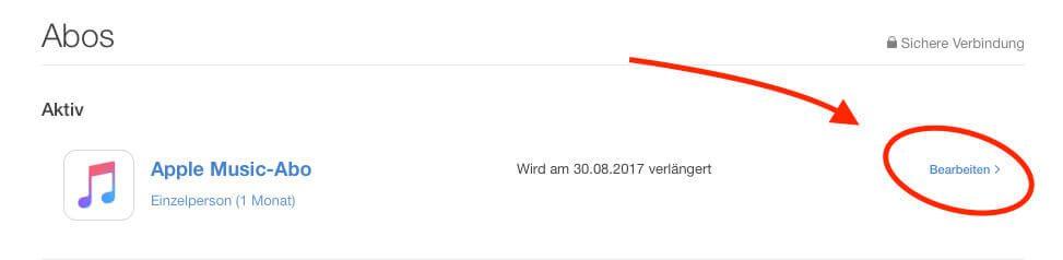 """In der Liste der Abos findet man auch Apple Music. Hier klickt man rechts auf """"Bearbeiten"""", um die weiteren Details einsehen zu können."""