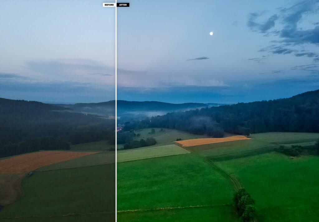 Auch bei wenig Licht – hier sieht man den Mond am Himmel – lassen sich mit der Spark passable Fotos schießen. Durch die Optimierung mit Photolemur bekommt das Foto noch mehr Farbe und Stimmung.