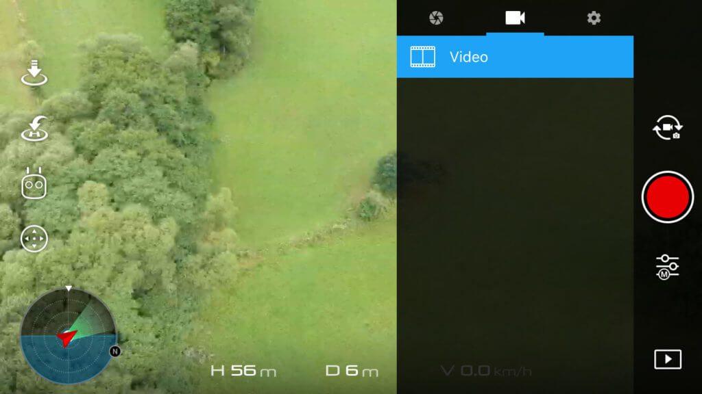 Die Videoeinstellungen sind bei der Spark derzeit recht überschaubar bzw. nicht vorhanden. Immerhin läßt sich in den allgemeinen Kameraeinstellungen (hinter dem Zahnrad versteckt) ein manueller Weißabgleich festlegen, der für viele Videofilmer wichtig ist.