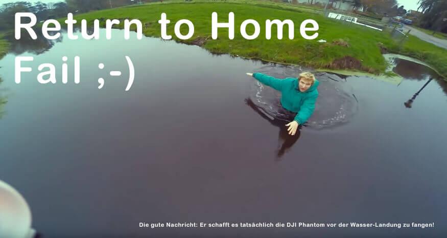 Screenshot aus dem unten verlinkten Video: Return to Home ist ein toller Notfall-Modus – aber nicht, wenn der Home-Punkt irgendwie über Wasserflächen gesetzt wird. ;)