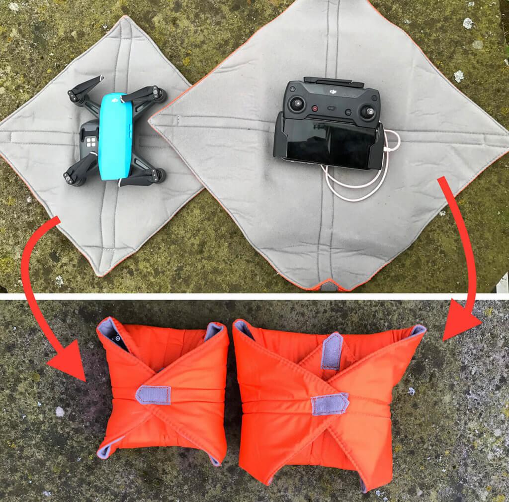 Das Ein- und Auspacken mit der Ideal Solution WRAP Schutzhülle geht in Sekunden. So ist die Spark innerhalb von einer Minute in der Luft!