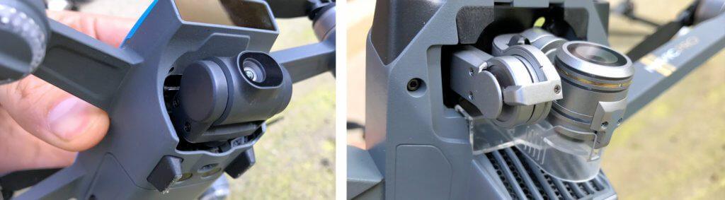 Im Vergleich: Die Gimbals der DJI Spark und der Mavic Pro – die Bauweise des 3-Achs-Gimbals ist deutlich komplexer und damit auch weniger robust als die Kamerahalterung der Spark.