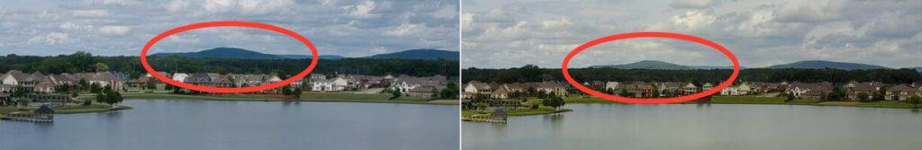 Im Bild der Spark (links) sind die Berge im Hintergrund weitgehend ohne Details und Struktur während die Mavic Pro (rechts) durchaus noch Bildinformationen liefert, die über eine gleichmässige Fläche hinaus gehen.