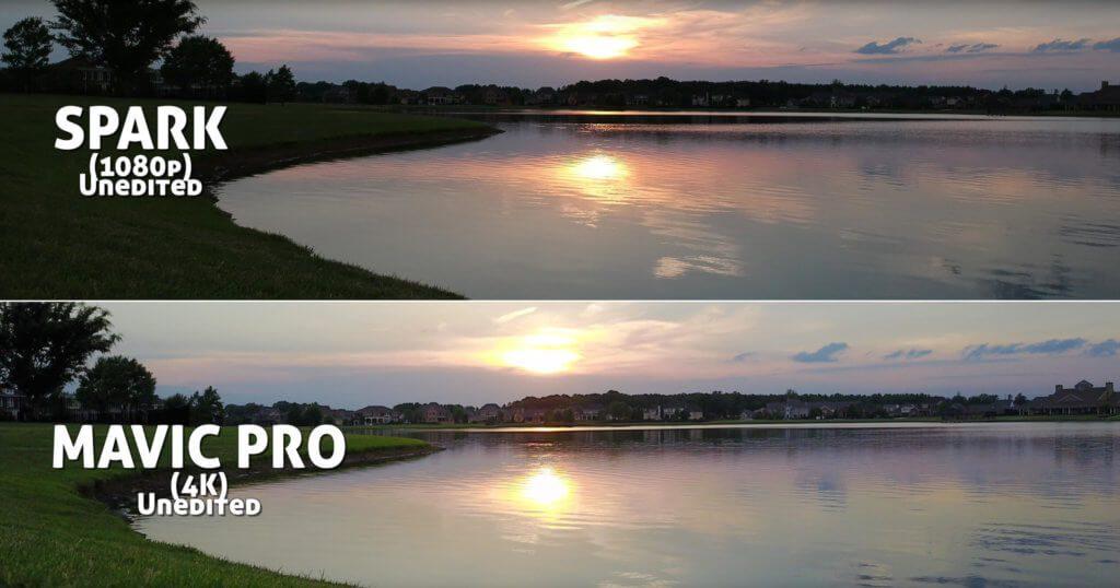 Videovergleich im Sonnenuntergang: in den linken Bereichen (bei der Wiese) und bei den Häusern im Hintergrund sieht man ganz klar, dass die Mavic Pro besser mit der Kontrast-Situation klar kommt.