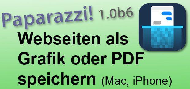 Eine Webseite in ganzer Länge als Bild-Datei oder PDF speichern, Apple Mac App