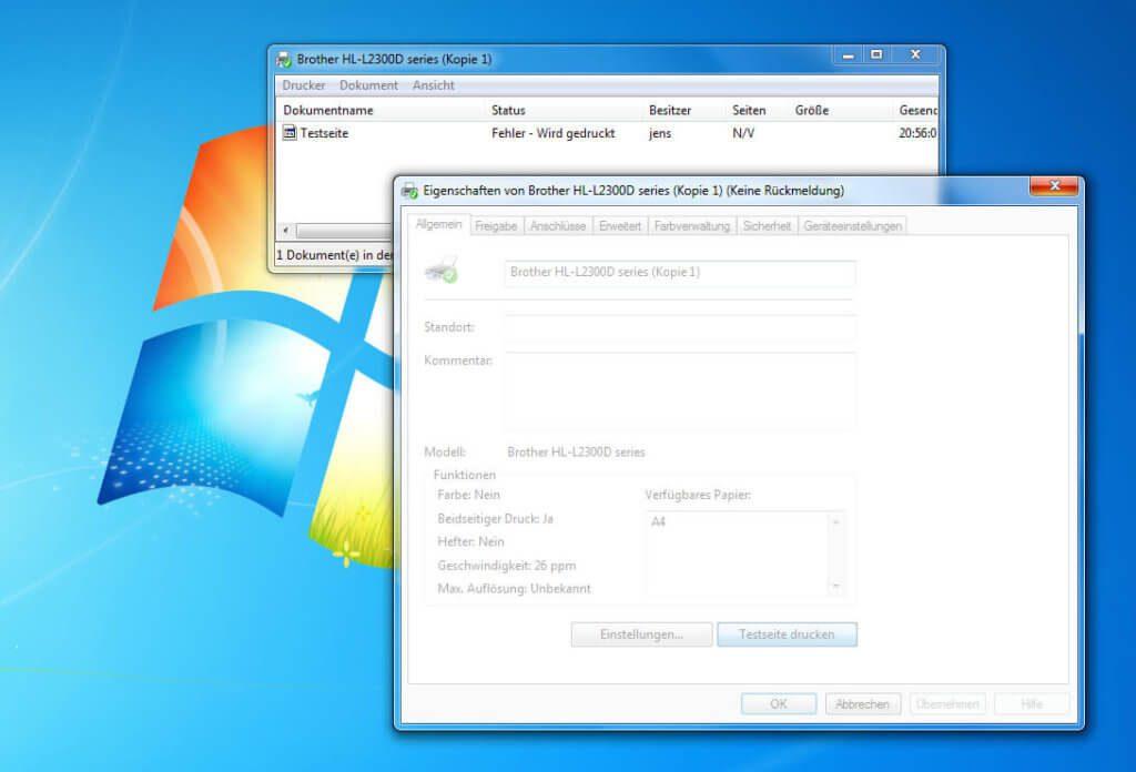 Nach dem Update auf Parallels Desktop 13 findet mein Windows 7 keinen einigen Drucker mehr und jeder Druck scheitert mit einer Fehlermeldung.