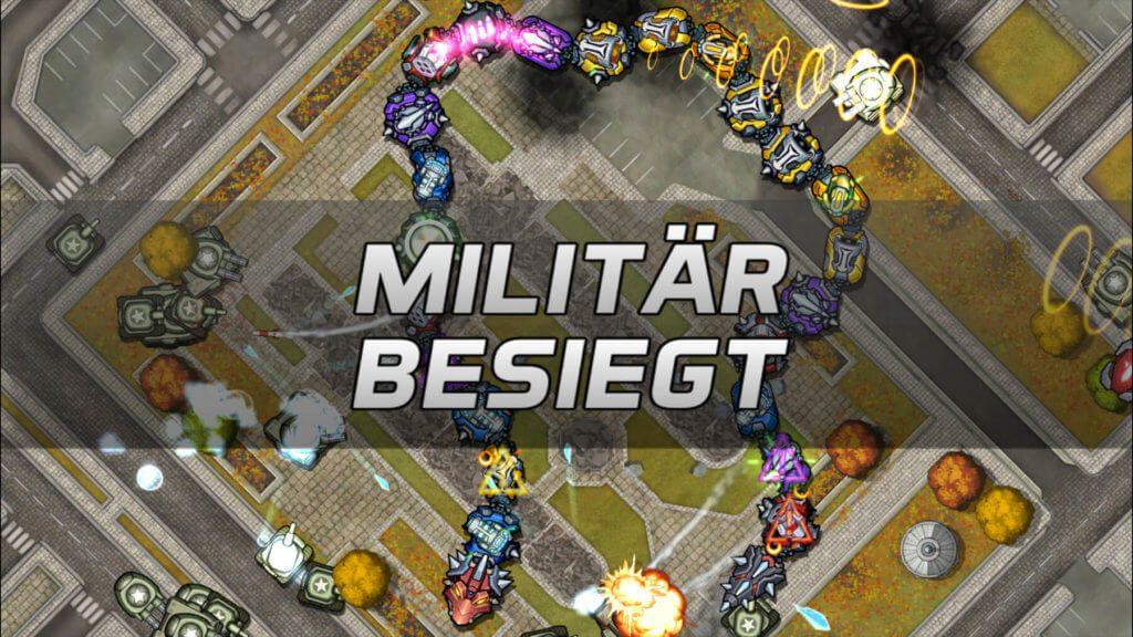 Militär besiegt – so endet jeder Level… aber man fragt sich immer wieder, wie es dazu kam. :D