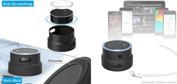 Der Smatree SmaCup ist Powerbank und Case für den Amazon Echo Dot in einem. Die Akkuhülle für den Lautsprecher mit Alexa und Audio-Apps sorgt für bis zu 13 Stunden mobilen Strom.