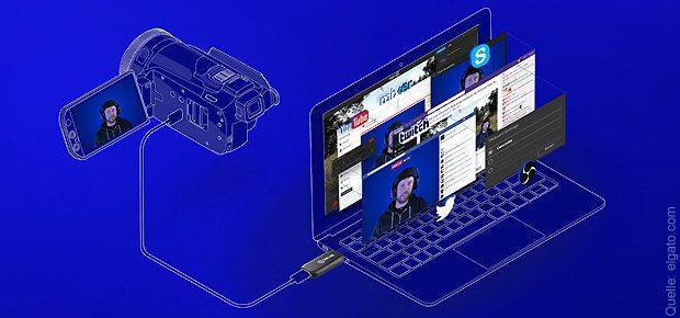 Mit dem Elgato Cam Link könnt ihr eure Kamera, Konsole oder Action Cam direkt auf dem PC oder Mac streamen. Geräte werden mit diesem HDMI auf USB Adapter als Webcam erkannt.
