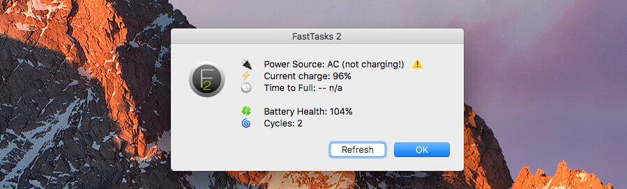 Einsichten über den Zustand des Akkus im MacBook Pro: Leider noch etwas buggy, denn mein MacBook lädt durchaus und steht laut Apple-eigener Anzeige auf 100%.