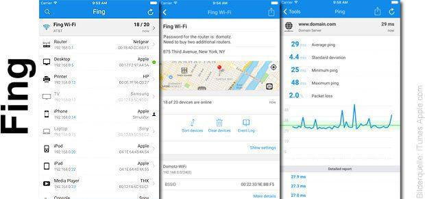 Die Fing Network Scanner iOS App könnt ihr im App Store bzw. bei iTunes herunterladen. Die Verbindung aus Funktionalität und schönem Interface überzeugt.