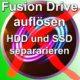 Mac Computer HDD und SSD separieren, trennen, Verbindung auflösen