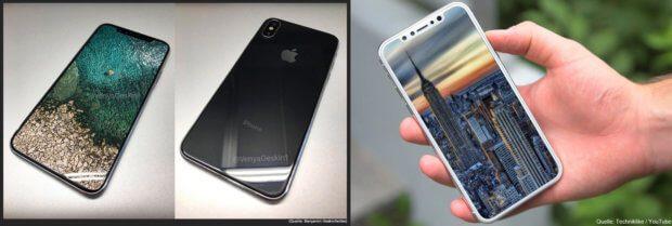 iPhone 8 Gerüchte, Fantastereien und Medienberichte für Klicks enthalten auch immer Bilder - wie diese, die wohl erst nach der Herbst-Keynote von Apple bestätigt oder dementiert werden können.