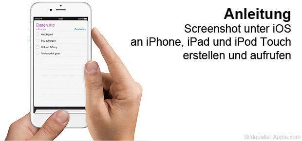 Screenshot an iPhone, iPad oder iPod Touch unter iOS erstellen - mit dieser Anleitung klappt's. Weiter unten die Aussicht auf Bildschirmfotos unter iOS 11 und das Work Around ohne Home Button.