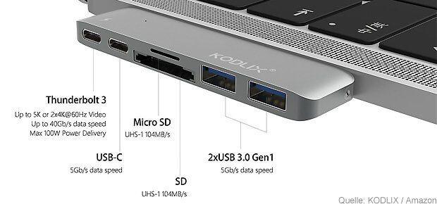 Der KODLIX USB-C Hub für das Apple MacBook Pro 2016 / 2017 bringt im Vergleich zum Satechi Dongle zwar einen niedrigeren Preis, aber keinen HDMI-Anschluss mit.