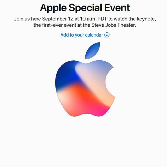 Apple Event am 12. September 2017: Let's meet at our place! iPhone 8