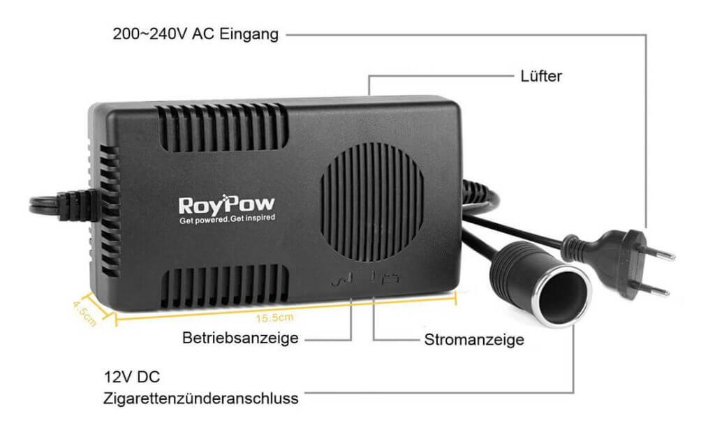 Auf diesem Übersichtsfoto sieht man sowohl die Lüftungsschlitze des Lüfters als auch die LED-Statusanzeigen (Foto: Amazon).