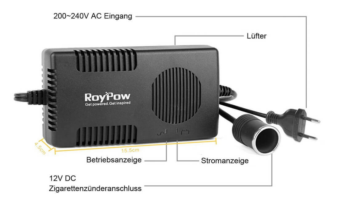 Spannungswandler Auto Kühlschrank : Test roypow spannungswandler v auf v a