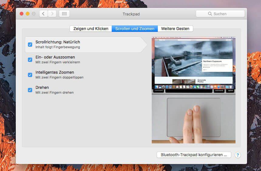 """Im Kontrollfeld """"Trackpad"""" gibt es den Reiter """"Scrollen und Zoomen"""". Darin verbirgt sich die Option """"Scrollrichtung"""", mit der man einstellen kann, wie zum Beispiel eine Webseite scrollt, wenn man an der Maus die Scrollbewegung nach oben oder unten macht."""