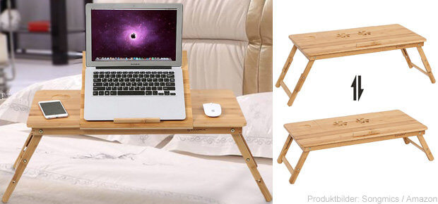 songmics laptoptisch faltbarer betttisch f r macbook aus bambus. Black Bedroom Furniture Sets. Home Design Ideas