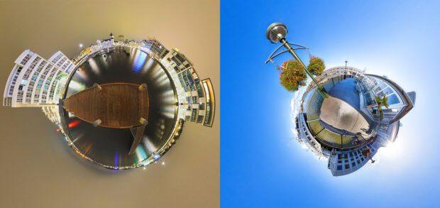 """Tiny Planet, übersetzt so viel wie """"winziger Planet"""", heißt diese Bildschöpfung aus einem 360°-Foto."""