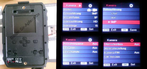 Das Menü der Wildkamera, das ihr auf dem LCD-Bildschirm aufrufen könnt, ist leicht verständlich und hilfreich.