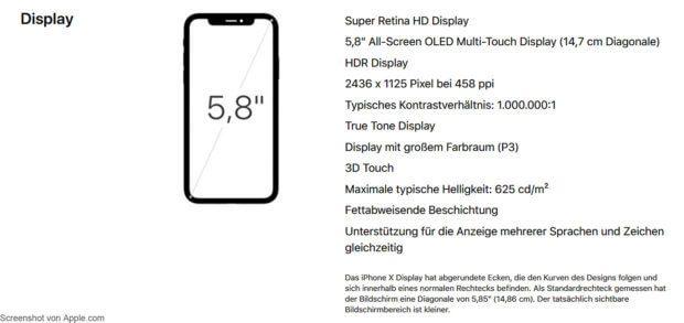 Informationen und Daten zum iPhone X Display mit OLED-Technologie und 5,8 Zoll Diagonale. Das erste Super Retina HD Display von Apple.