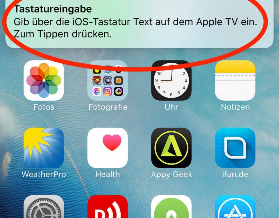 Hinweis auf die Apple-TV Tastatureingabe