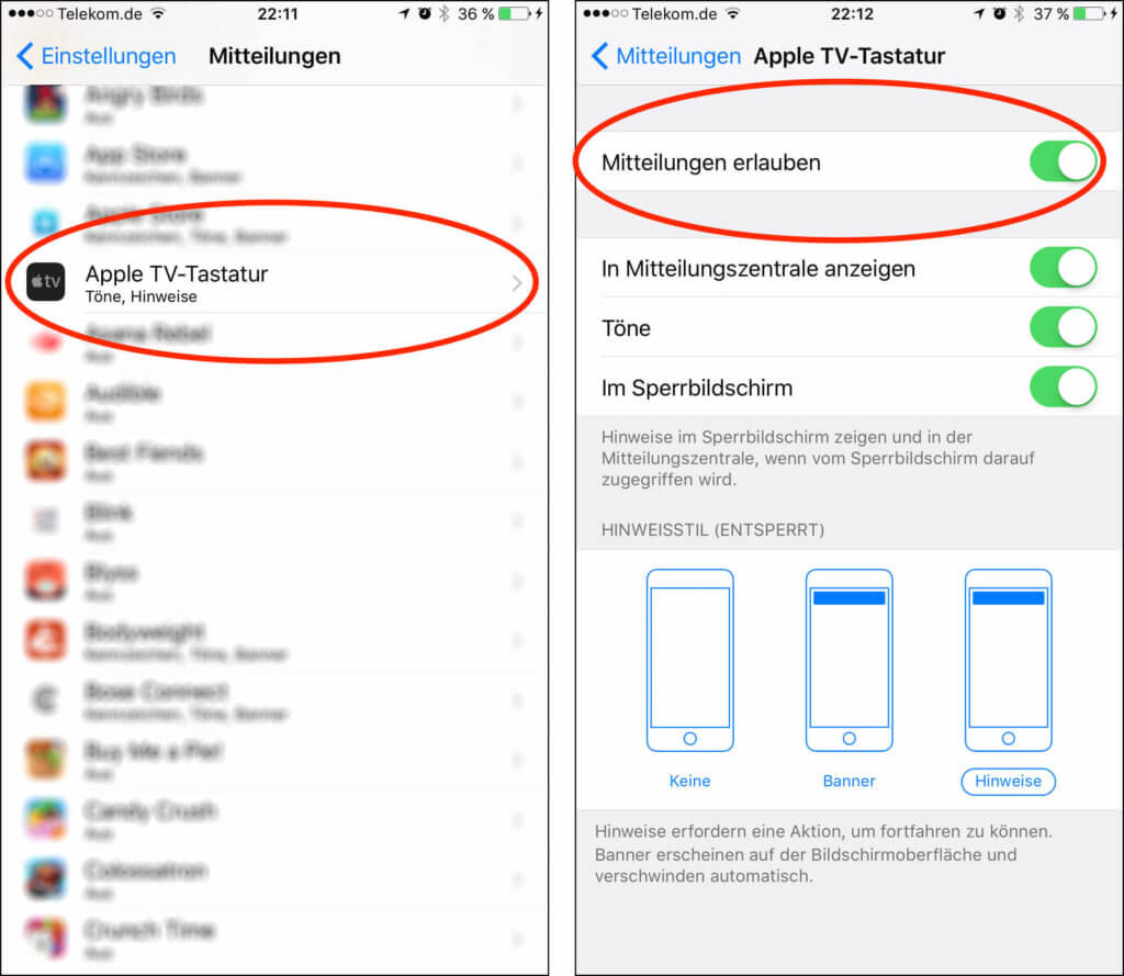 Über die EInstellungen lassen sich die Mitteilungen unterdrücken, die der Apple TV an die Apple-TV-Remote-App auf den iOS Geräten schickt.