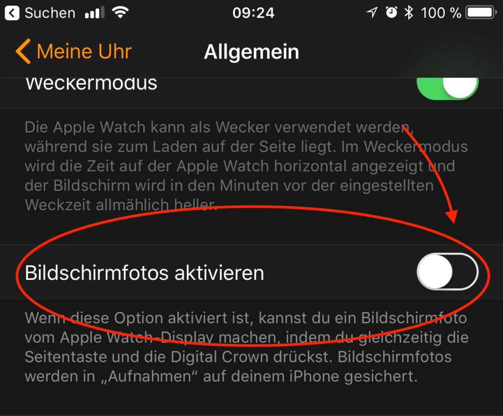 In den meisten Fällen (ab watchOS 4) muss man die Bildschirmfotos in der Watch-App am iPhone erst einmal aktivieren.