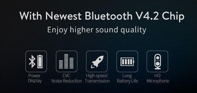 Laut Hersteller bietet die Verwendung des internen Bluetooth 4.2 Chips die oben genannten Vorteile von geringerem Energieverbrauch bis hin zu Rauschunterdrückung bei Gesprächen über das Mikrofon.